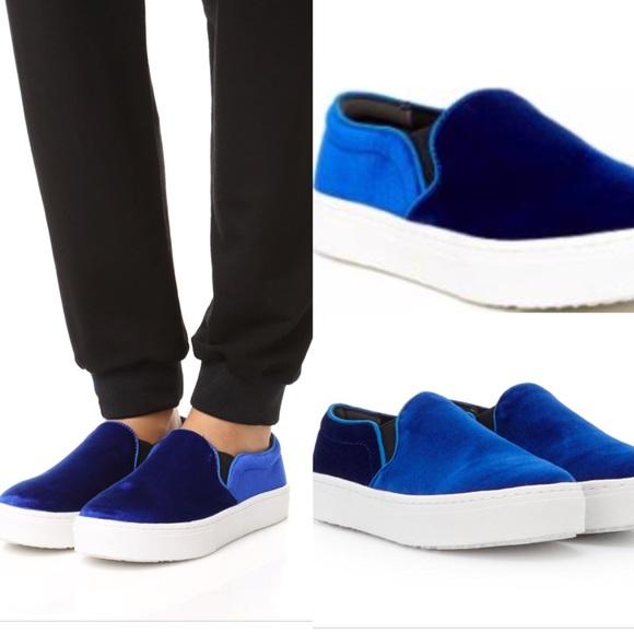 b65ade42b6a91f Sam Edelman Lacey Blue Velvet Slip On Sneakers. M 5b1719063c9844b3bae50323